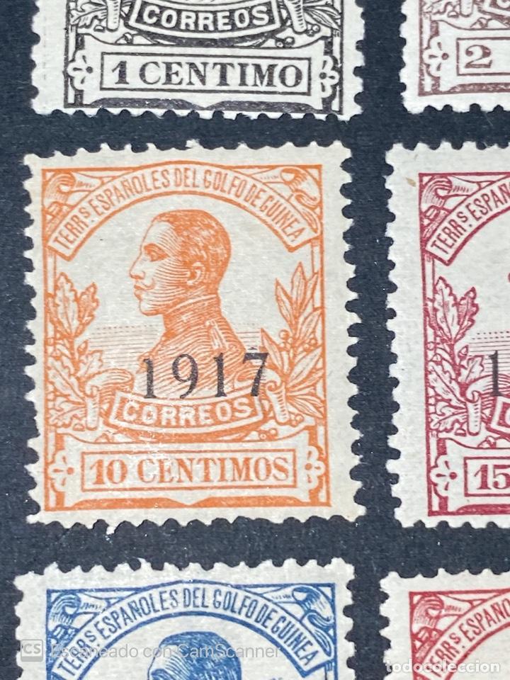 Sellos: GUINEA, 1917. ALFONSO XIII. HABILITADOS. EDIFIL 111-123. COMPLETA. NUEVOS. GOMA. SEÑAL FIJASELLOS. - Foto 5 - 209674196