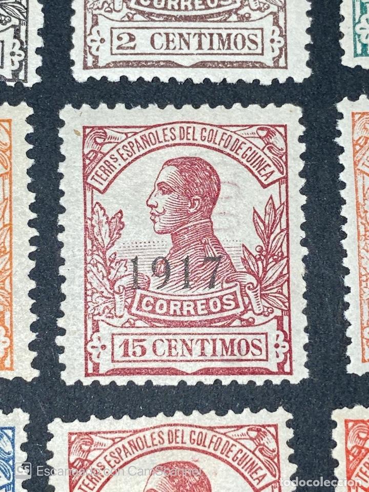 Sellos: GUINEA, 1917. ALFONSO XIII. HABILITADOS. EDIFIL 111-123. COMPLETA. NUEVOS. GOMA. SEÑAL FIJASELLOS. - Foto 6 - 209674196