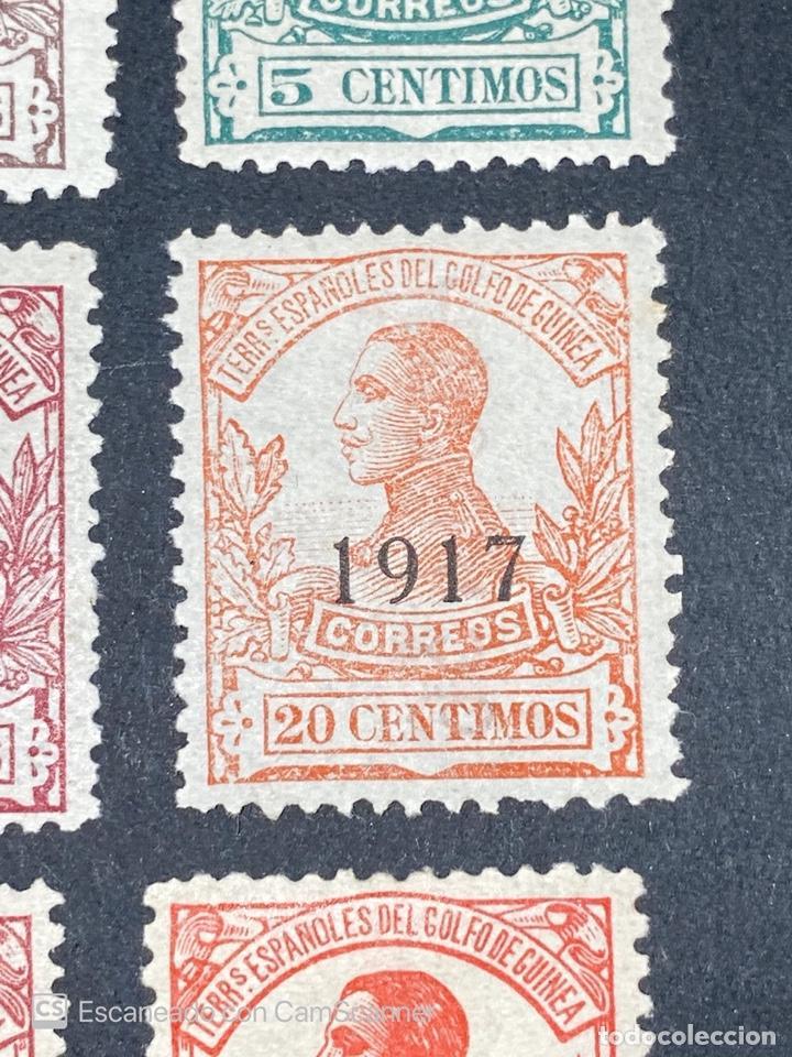 Sellos: GUINEA, 1917. ALFONSO XIII. HABILITADOS. EDIFIL 111-123. COMPLETA. NUEVOS. GOMA. SEÑAL FIJASELLOS. - Foto 7 - 209674196