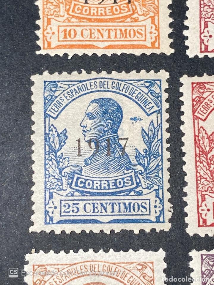 Sellos: GUINEA, 1917. ALFONSO XIII. HABILITADOS. EDIFIL 111-123. COMPLETA. NUEVOS. GOMA. SEÑAL FIJASELLOS. - Foto 8 - 209674196