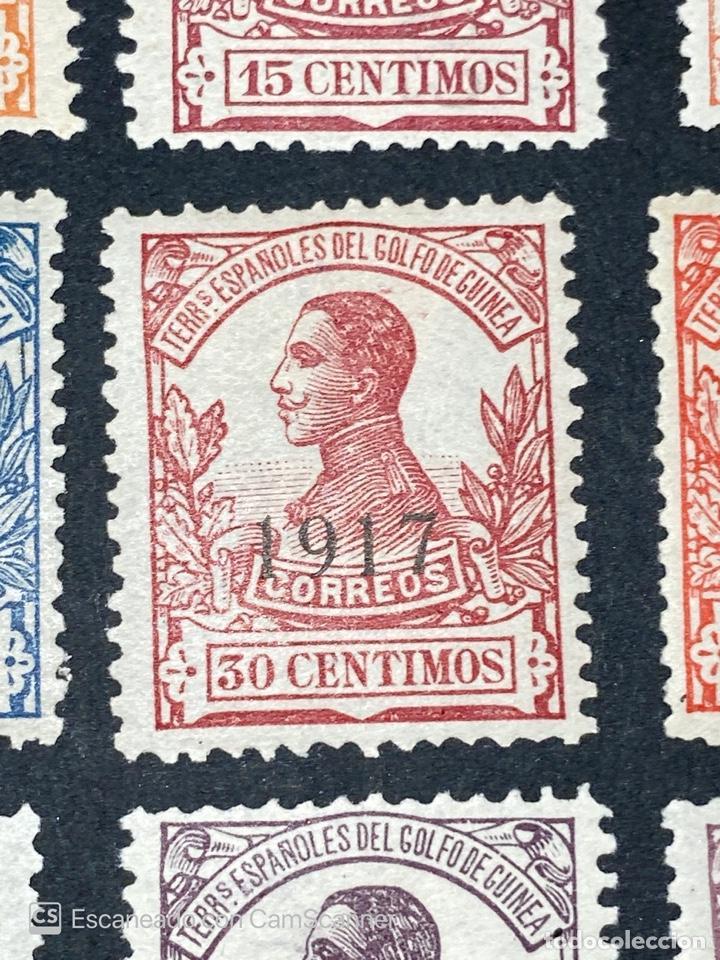 Sellos: GUINEA, 1917. ALFONSO XIII. HABILITADOS. EDIFIL 111-123. COMPLETA. NUEVOS. GOMA. SEÑAL FIJASELLOS. - Foto 9 - 209674196