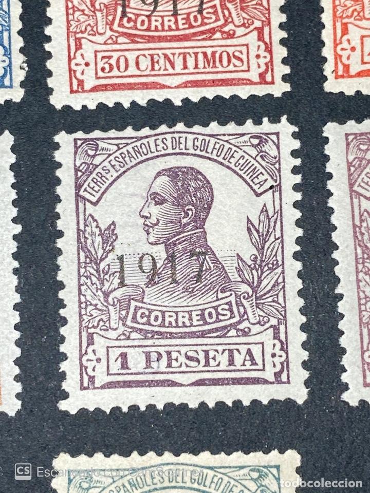 Sellos: GUINEA, 1917. ALFONSO XIII. HABILITADOS. EDIFIL 111-123. COMPLETA. NUEVOS. GOMA. SEÑAL FIJASELLOS. - Foto 12 - 209674196