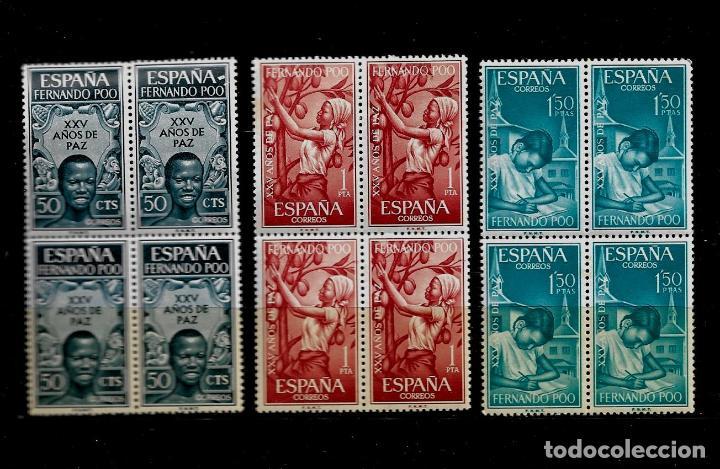 FERNANDO POO - XXV AÑOS DE PAZ - 1965 - EDIFIL 239-41 - BLOQUE DE CUATRO - NUEVOS. (Sellos - España - Colonias Españolas y Dependencias - África - Fernando Poo)