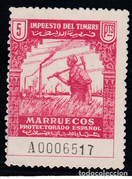 MARRUECOS.- IMPUESTO DEL TIMBRE DE 5 PESETAS. NUEVO SIN GOMA (Sellos - España - Colonias Españolas y Dependencias - África - Marruecos)