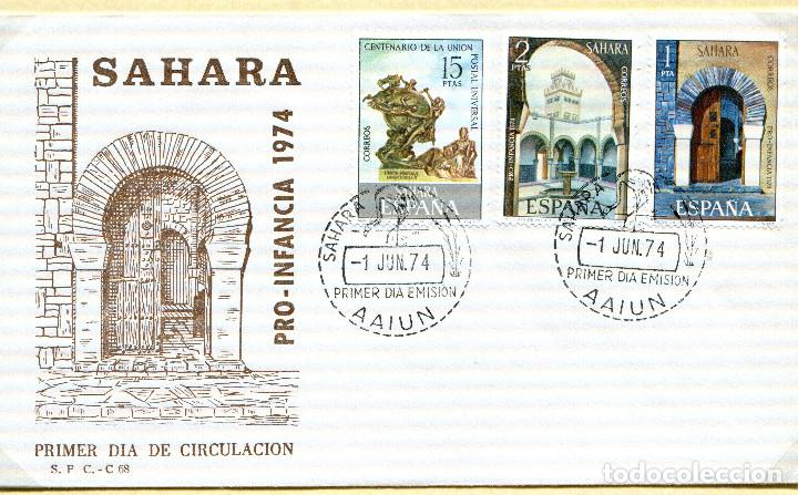 SOBRE 1R.DIA CENTENARIO UPU, 1974, SAHARA ESPAÑOL, MICHEL 345+312+313 (Sellos - España - Colonias Españolas y Dependencias - África - Sahara)
