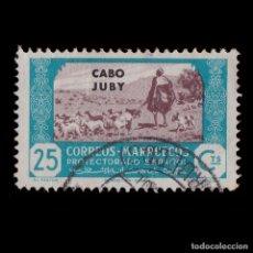 Sellos: CABO JUBY.1944.AGRICULTURA.25C.AZUL CAST.USADO.EDIFIL.144. Lote 215822732