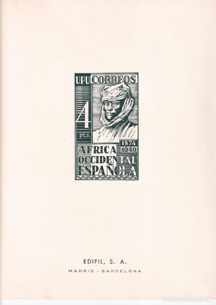 SELLOS ESPAÑA AFRICA OCCIDENTAL 1949* Y 1951* EN HOJA EDIFIL CON CANTO DORADO (Sellos - España - Colonias Españolas y Dependencias - África - África Occidental)