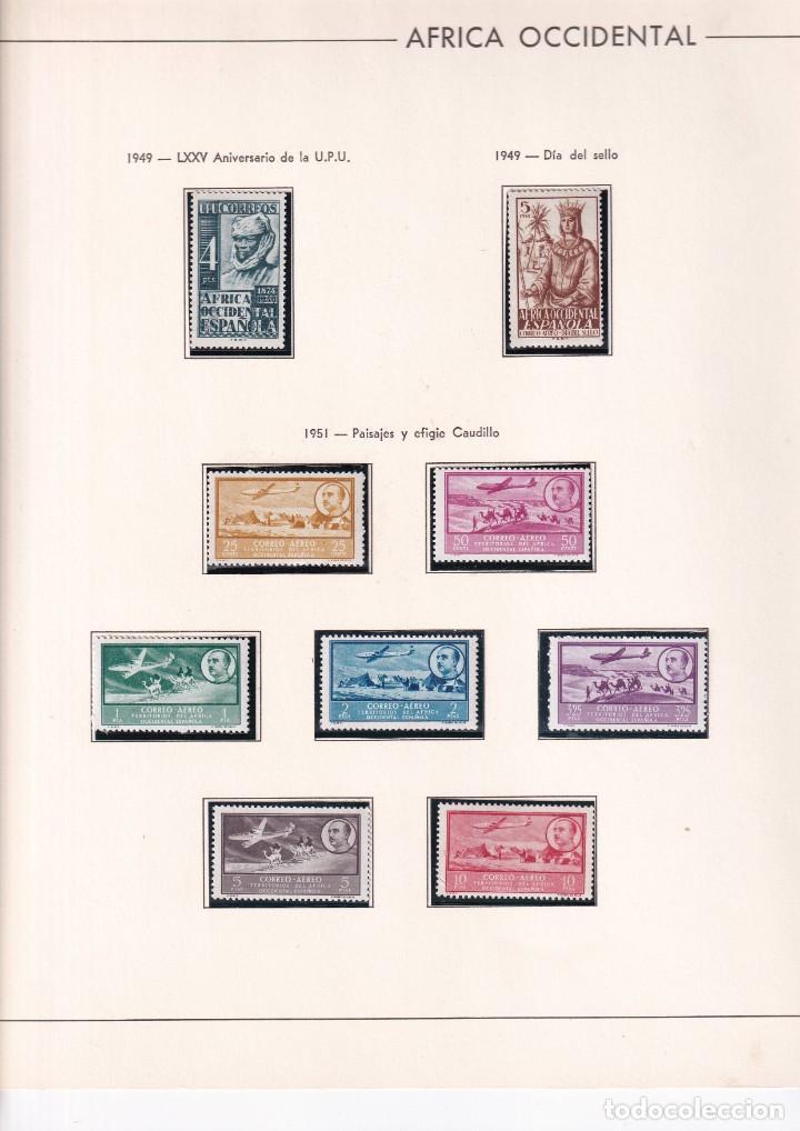 Sellos: Sellos España Africa occidental 1949* y 1951* en hoja edifil con canto dorado - Foto 2 - 216848920