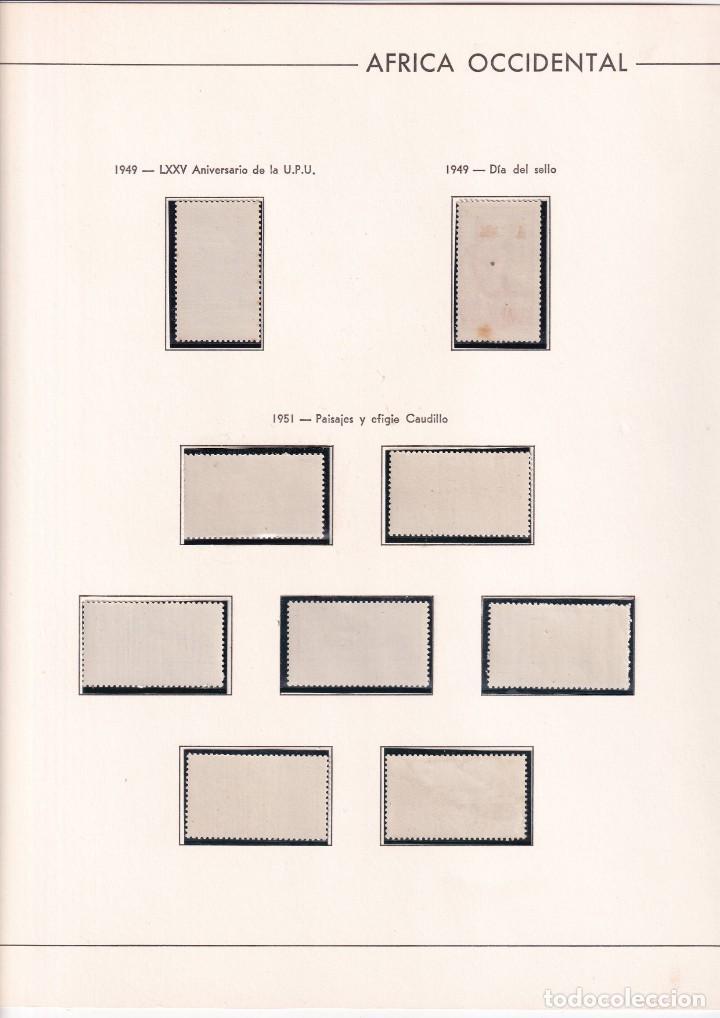 Sellos: Sellos España Africa occidental 1949* y 1951* en hoja edifil con canto dorado - Foto 3 - 216848920