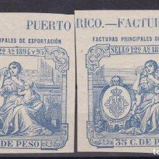 Sellos: DD12- FISCALES COLONIAS PUERTO RICO . PÓLIZAS FACTURAS PRINCIPALES DE EXPORTACIÓN **. LUJO. Lote 218497533