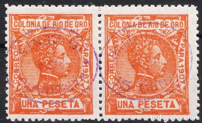1908 ALFONSO XIII RÍO DE ORO EDIFIL 40 HABILITADO 15 CTS UNO DE ELLOS SOBRECARGA INVERTIDA (Sellos - España - Colonias Españolas y Dependencias - África - Río Muni)