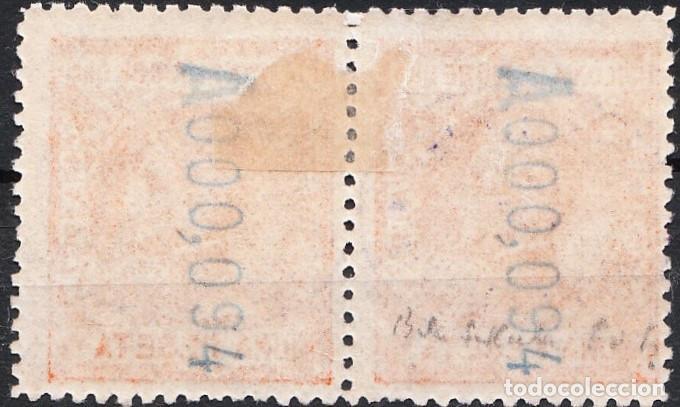 Sellos: 1908 ALFONSO XIII RÍO DE ORO EDIFIL 40 HABILITADO 15 CTS UNO DE ELLOS SOBRECARGA INVERTIDA - Foto 2 - 218204788