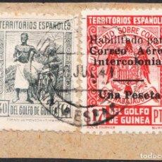 Sellos: PAREJA DE SELLOS GUINEA MATASELLADOS EN JULIO DE 1941 EDIFIL 210 Y 259L DE 9MM. Lote 218918263