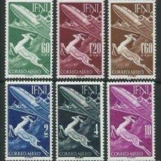 Sellos: ESPAÑA IFNI 1953 SERIE BÁSICA GACELA Y AVIÓN EDIFIL 89/94 - NUEVOS SIN CHARNELA MNH. Lote 244427625