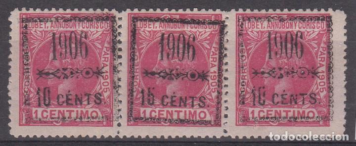 1906 TIRA DE TRES SELLOS NUM 34A 10CTS-15CTS-10CTS, NUEVOS CON SEÑAL DE FIJASELLOS -MARQUILLAS (Sellos - España - Colonias Españolas y Dependencias - África - Elobey, Annobón y Corisco )