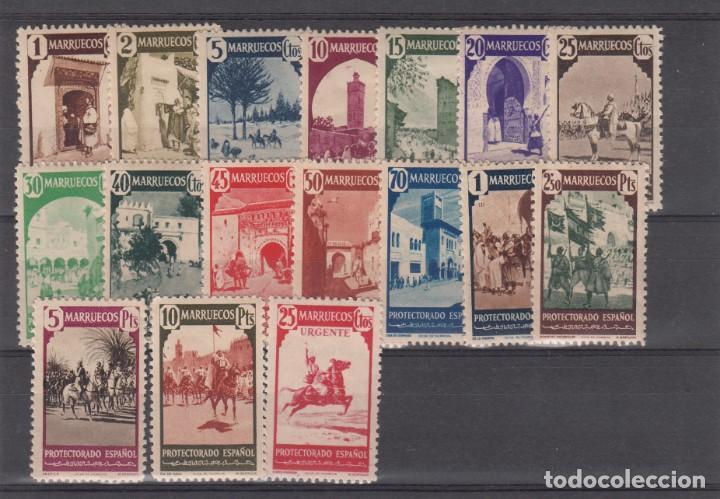 MARRUECOS 1940 NUMS . 200-216 NUEVOS CON SEÑAL DE FIJASELLOS (Sellos - España - Colonias Españolas y Dependencias - África - Marruecos)