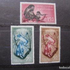 Sellos: ++GUINEA ESPAÑOLA, 1955, DIA DEL SELLO, FAUNA, EDIFIL 355/57. Lote 221664556