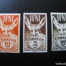 Sellos: ++IFNI, 1951, DIA DEL SELLO, EDIFIL 76/78. Lote 221946767
