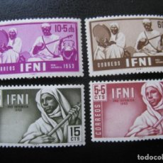 Sellos: ++IFNI, 1953, PRO INFANCIA, MUSICOS INDIGENAS, EDIFIL 95/98. Lote 221949363