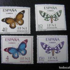 Sellos: ++IFNI, 1966, DIA DEL SELLO,MARIPOSAS, EDIFIL 221/24. Lote 222014338