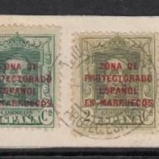 Sellos: MARRUECOS -FRAGMENTO CON MATASELLOS DE TETUÁN - 1928. Lote 222148417