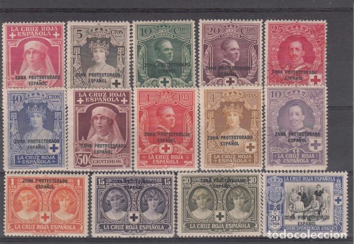 MARRUECOS 1926- PRO CRUZ ROJA NUEVOS CON SEÑAL DE FIJASELLOS NUMS 91 A 104 (Sellos - España - Colonias Españolas y Dependencias - África - Marruecos)