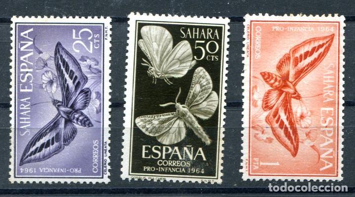 EDIFIL 225/227 DE SAHARA, SERIE COMPLETA, TEMA MARIPOSAS. VER DESCRIPCIÓN (Sellos - España - Colonias Españolas y Dependencias - África - Sahara)