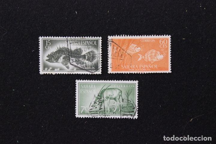3 SELLOS SAHARA ESPAÑOL DÍA DEL SELLO 1955. FAUNA PECES Y ORIX (Sellos - España - Colonias Españolas y Dependencias - África - Sahara)