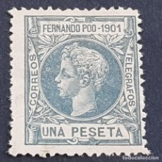 Sellos: FERNANDO POO, 1901, ALFONSO XIII, EDIFIL 104*, NUEVO, FIJASELLO, ( LOTE AB). Lote 223719091