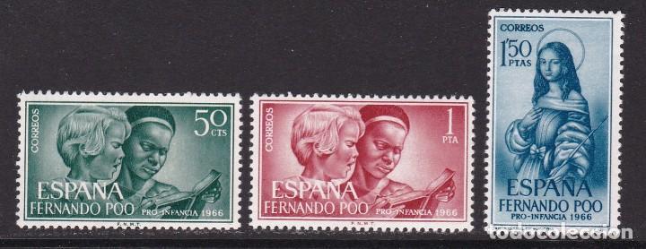 FERNANDO POO 1966 - PRO INFANCIA SERIE COMPLETA NUEVA SIN FIJASELLOS EDIFIL Nº 248/250 (Sellos - España - Colonias Españolas y Dependencias - África - Fernando Poo)