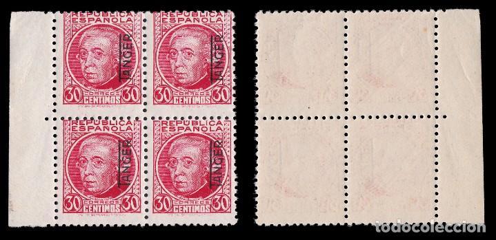 Sellos: TANGER.1937-38.Sellos España.25c.Blq 4.carmín.MNH Edifil.92 - Foto 2 - 226795450
