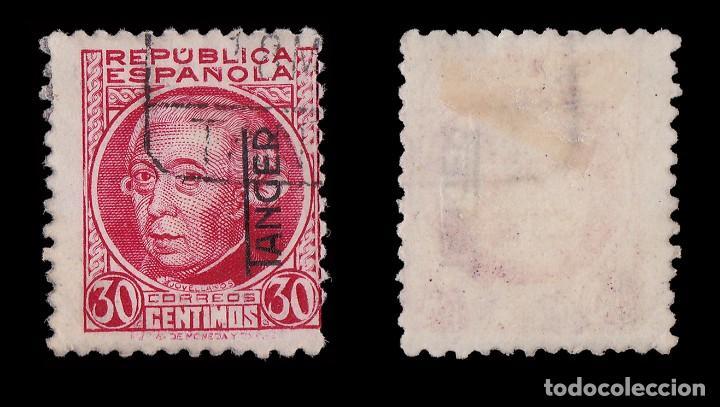 Sellos: TANGER 1937-38.Sellos de España.H.25c.carmín.Usado Edifil.92 - Foto 2 - 226797225
