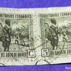 Sellos: 2 SELLOS GINEA ESPAÑOLA 1931 TIPOS DIVERSOS Nº 204 - 5 C CASTAÑO NEGRUZCO. Lote 227047890
