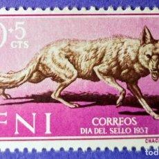 Sellos: SELLO IFNI 1957 DÍA DEL SELLO - CANIS AUREUS Nº 138 - 10C + 5C LILA Y CASTAÑO. Lote 228433560