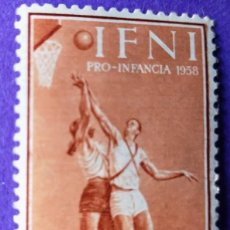 Sellos: SELLO IFNI 1958 PRO INFANCIA DEPORTES 10 + 5C. CASTAÑO ROJIZO Nº 145. Lote 228434665