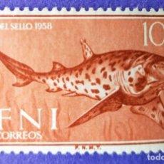 Sellos: 3 SELLOS IFNI 1958 DÍA DEL SELLO - SERIE COMPLETA E VALORES Nº 149/150/151. Lote 228443420