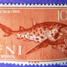 Sellos: 3 SELLOS IFNI 1958 DÍA DEL SELLO - SERIE COMPLETA E VALORES Nº 149/150/151. Lote 228443480