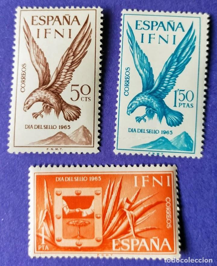 3 SELLOS IFNI 1965 DÍA DEL SELLO. SERIE COMPLETA 3 VALORES Nº 215/216/217 (Sellos - España - Colonias Españolas y Dependencias - África - Ifni)