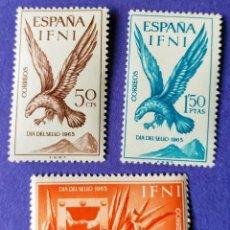 Sellos: 3 SELLOS IFNI 1965 DÍA DEL SELLO. SERIE COMPLETA 3 VALORES Nº 215/216/217. Lote 228547390