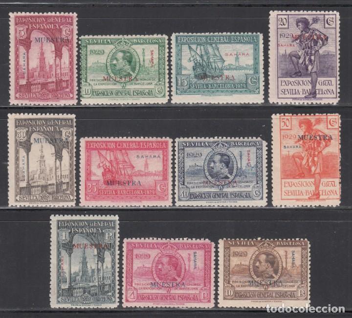 SAHARA.1929 EDIFIL Nº 25 M / 34 M /**/, EXPOSICION DE SEVILLA Y BARCELONA, *MUESTRA* (Sellos - España - Colonias Españolas y Dependencias - África - Sahara)
