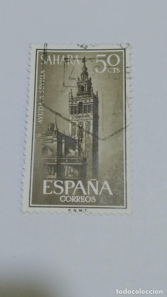 SELLO SAHARA 215. AYUDA A SEVILA 1963. USADO. (Sellos - España - Colonias Españolas y Dependencias - África - Sahara)