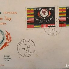 Sellos: O) 1959 GHANA, AFRICA FREEDOM DAY - ESTADOS INDEPENDIENTES, FDC XF A EE. UU.. Lote 233186605