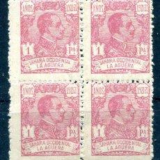 Sellos: EDIFIL 25 DE LA AGÜERA. 1 PTA AÑO 1921. EN BLOQUE DE 4. NUEVOS SIN FIJASELLOS.. Lote 234062175
