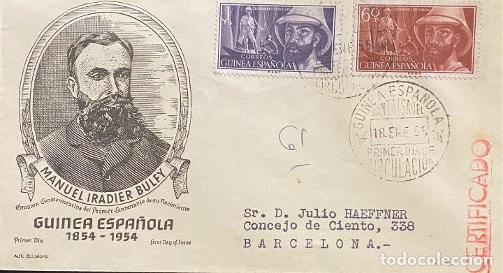 GUINEA ESPAÑOLA, CARTA SOBRE PRIMER DÍA AÑO 1955 (Sellos - España - Colonias Españolas y Dependencias - África - Guinea)