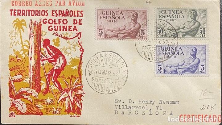 GUINEA ESPAÑOLA, CARTA SOBRE PRIMER DÍA AÑO 1952 (Sellos - España - Colonias Españolas y Dependencias - África - Guinea)