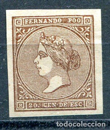 EDIFIL 1 DE FERNANDO POO. 20 CTS ISABEL II, AÑO 1868. VER DESCRIPCIÓN (Sellos - España - Colonias Españolas y Dependencias - África - Fernando Poo)