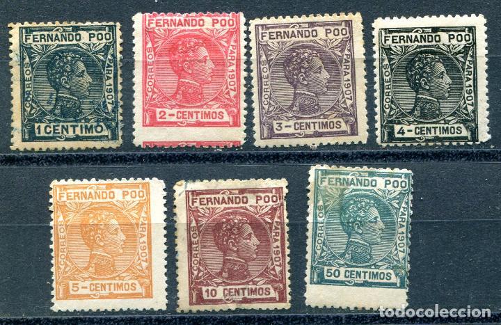 EDIFIL 132 AL 137 Y 140 DE FERNANDO POO, AÑO 1907. VER DESCRIPCIÓN (Sellos - España - Colonias Españolas y Dependencias - África - Fernando Poo)
