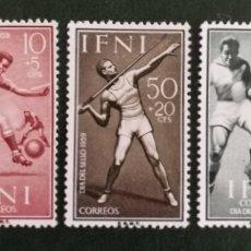 Sellos: IFNI N°156/58 MH*DEPORTES 1958 (FOTOGRAFÍA REAL). Lote 235036270