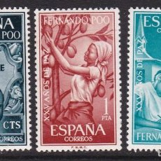 Sellos: FERNANDO POO 1965 - XXV AÑOS DE PAZ ESPAÑOLA SERIE COMPLETA NUEVA SIN FIJASELLOS EDIFIL Nº 239/241. Lote 235273655