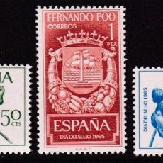 Timbres: FERNANDO POO 1965 - DÍA DEL SELLO SERIE COMPLETA NUEVA SIN FIJASELLOS EDIFIL Nº 245/247. Lote 235274035